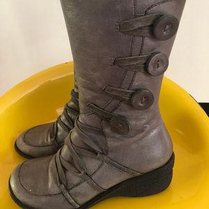 Miz Mooz Olsen grey leather boots women's 37 6.5